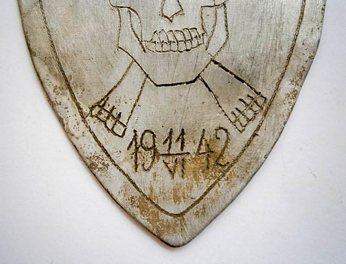 Original German WW2 SHIELD w. Skull & Bones, Trench Art - 7