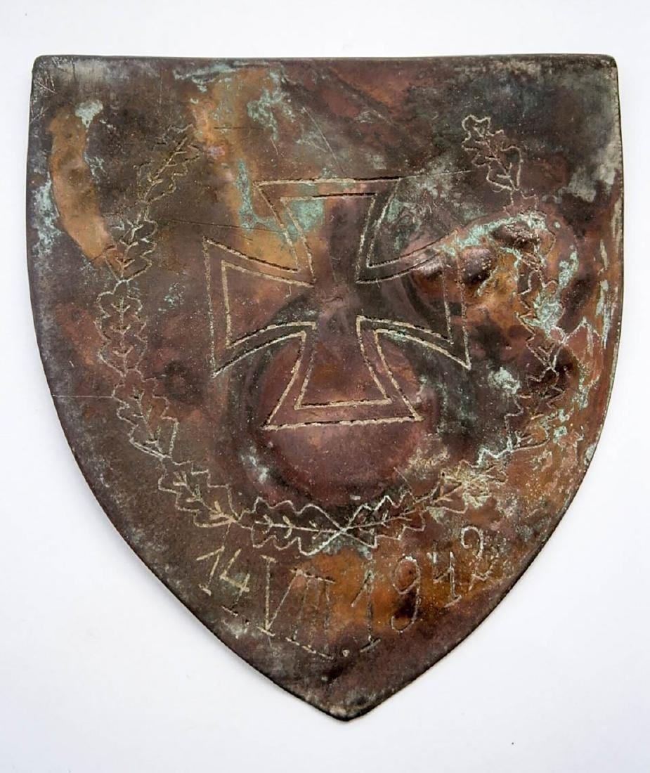 German WW2 Shield w. Iron Cross, 1942 Trench Art