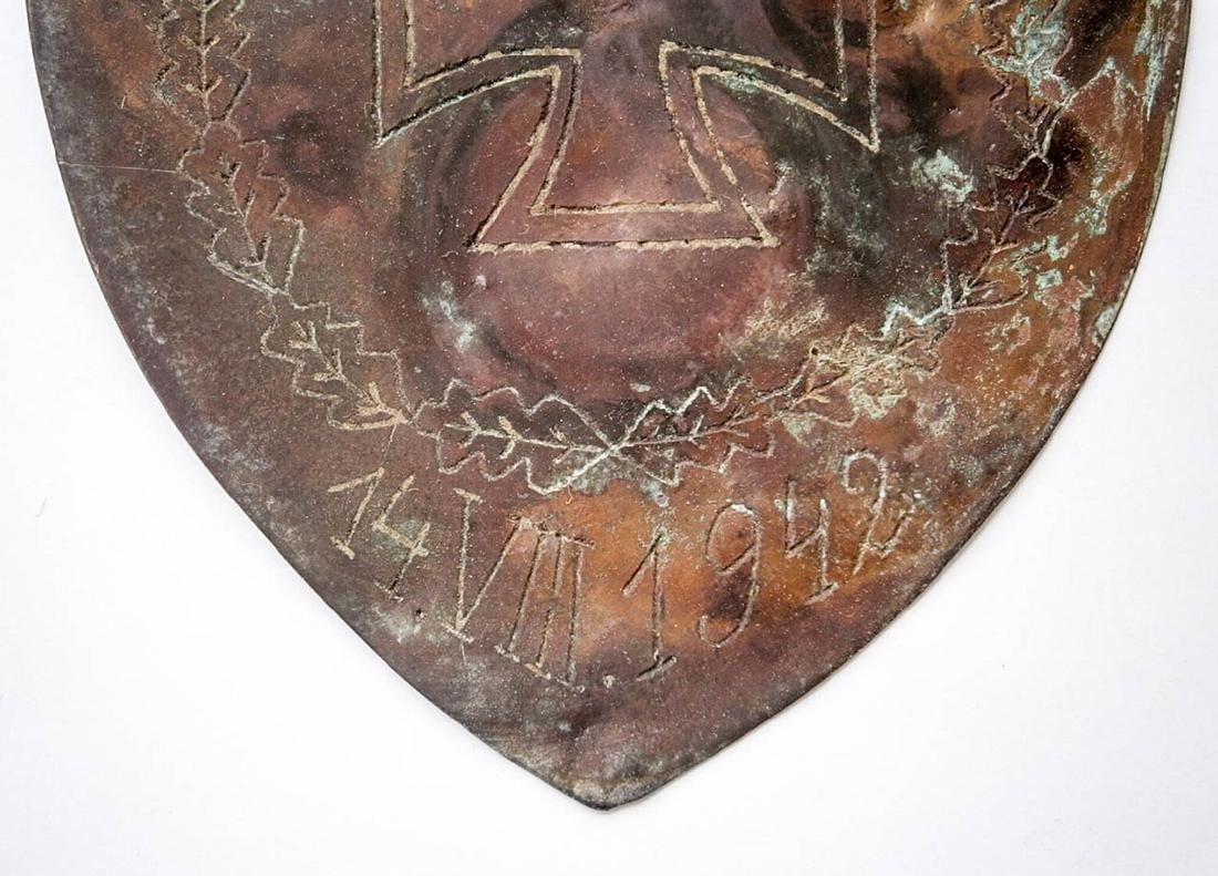 German WW2 Shield w. Iron Cross, 1942 Trench Art - 6