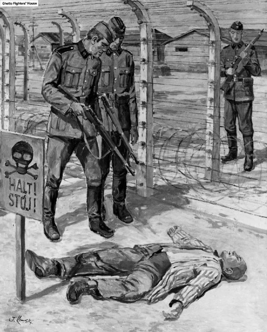 Original German WW2 Sign Stop Entry w. Skull & Bones - 10