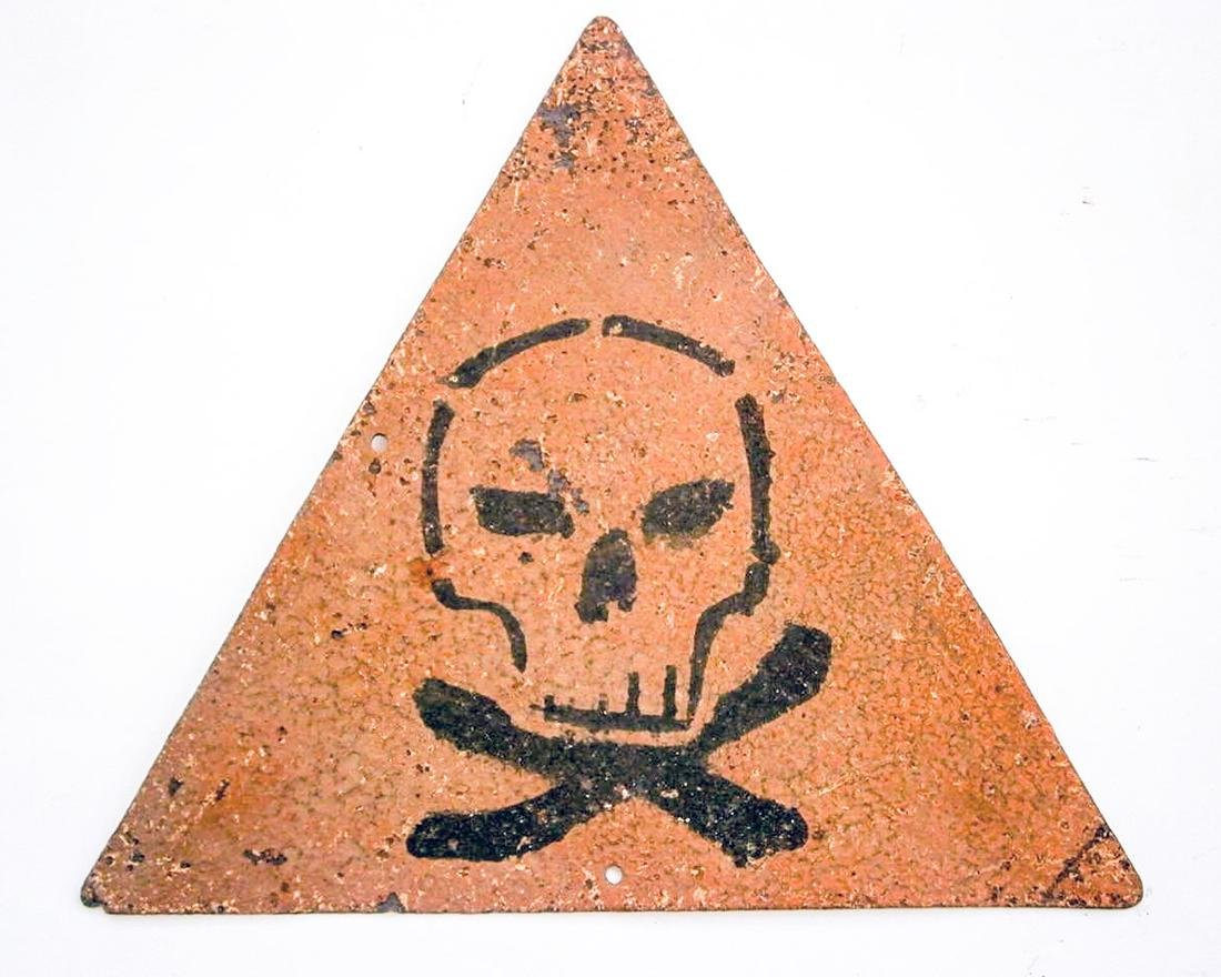 Original German WW2 Sign Stop Entry w. Skull & Bones