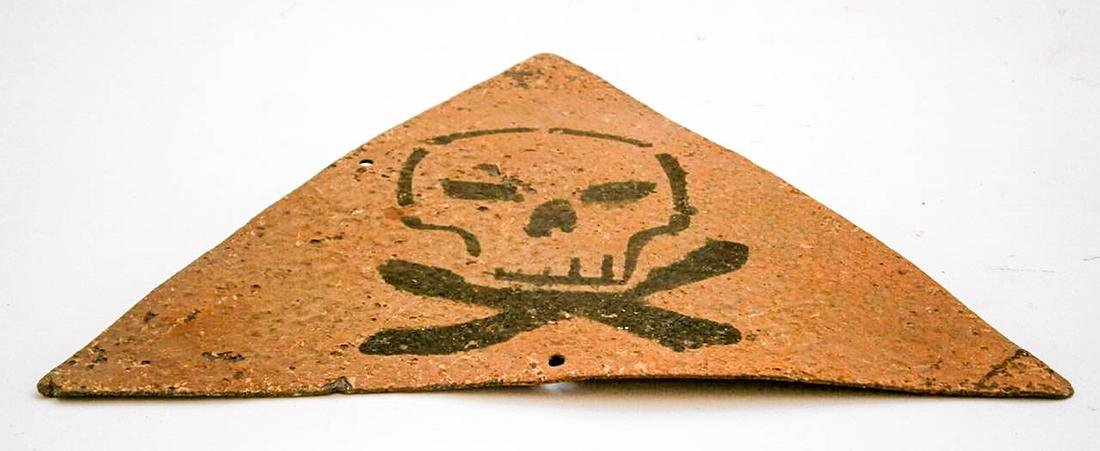 Original German WW2 Sign Stop Entry w. Skull & Bones - 2