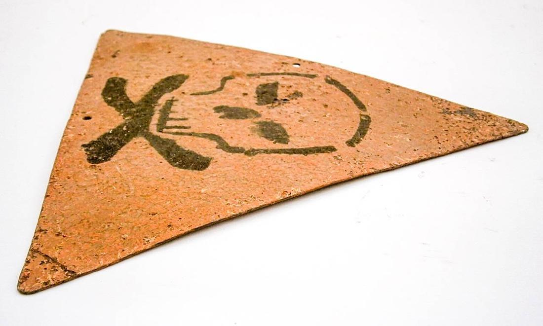 Original German WW2 Sign Stop Entry w. Skull & Bones - 4