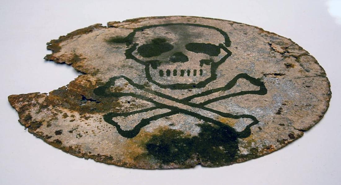 Original German WW2 SIGN Plate w. Skull & Bones - 3