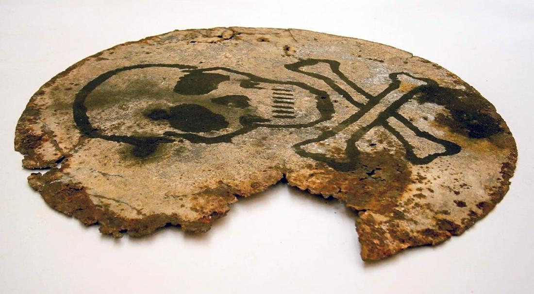 Original German WW2 SIGN Plate w. Skull & Bones - 4