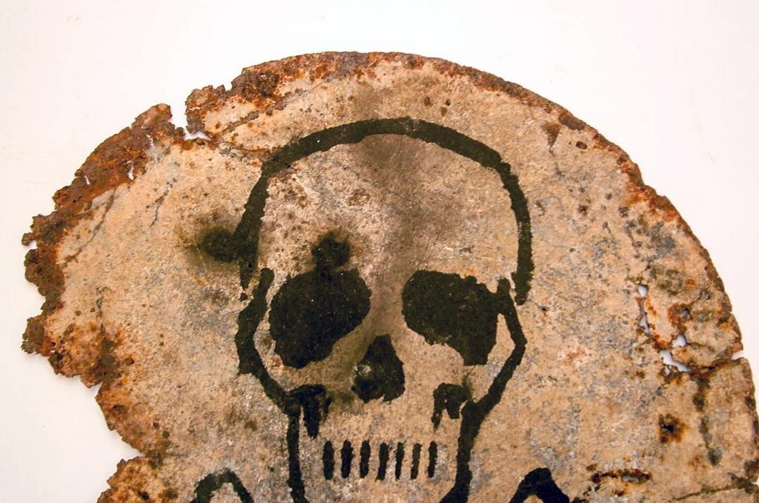 Original German WW2 SIGN Plate w. Skull & Bones - 5