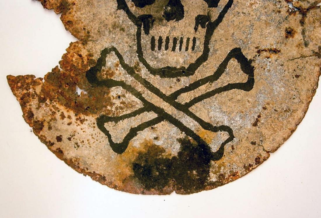 Original German WW2 SIGN Plate w. Skull & Bones - 6