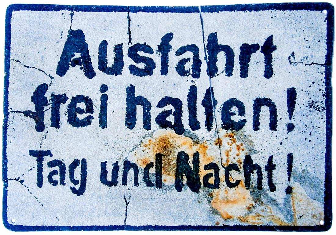 Original German WW2 Sign Stop Entry Day & Night