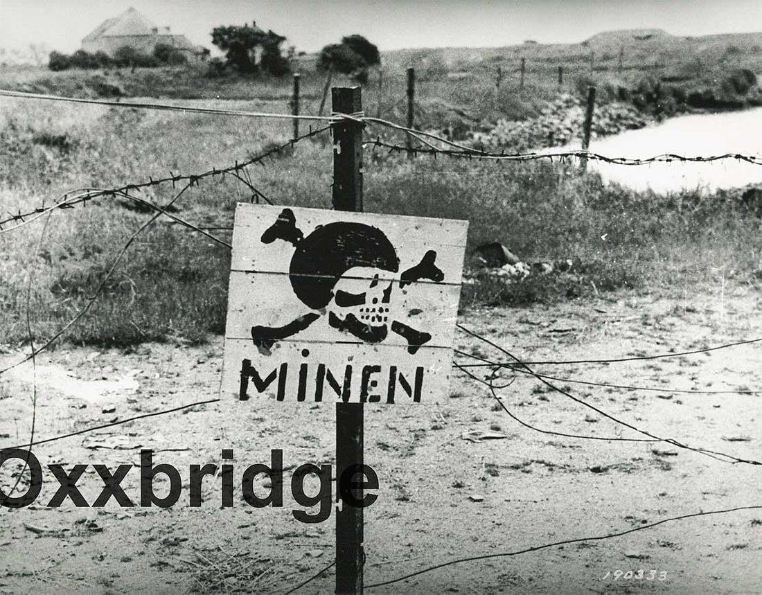 Original German WW2 Stop Sign w. Skull & Bones - 10