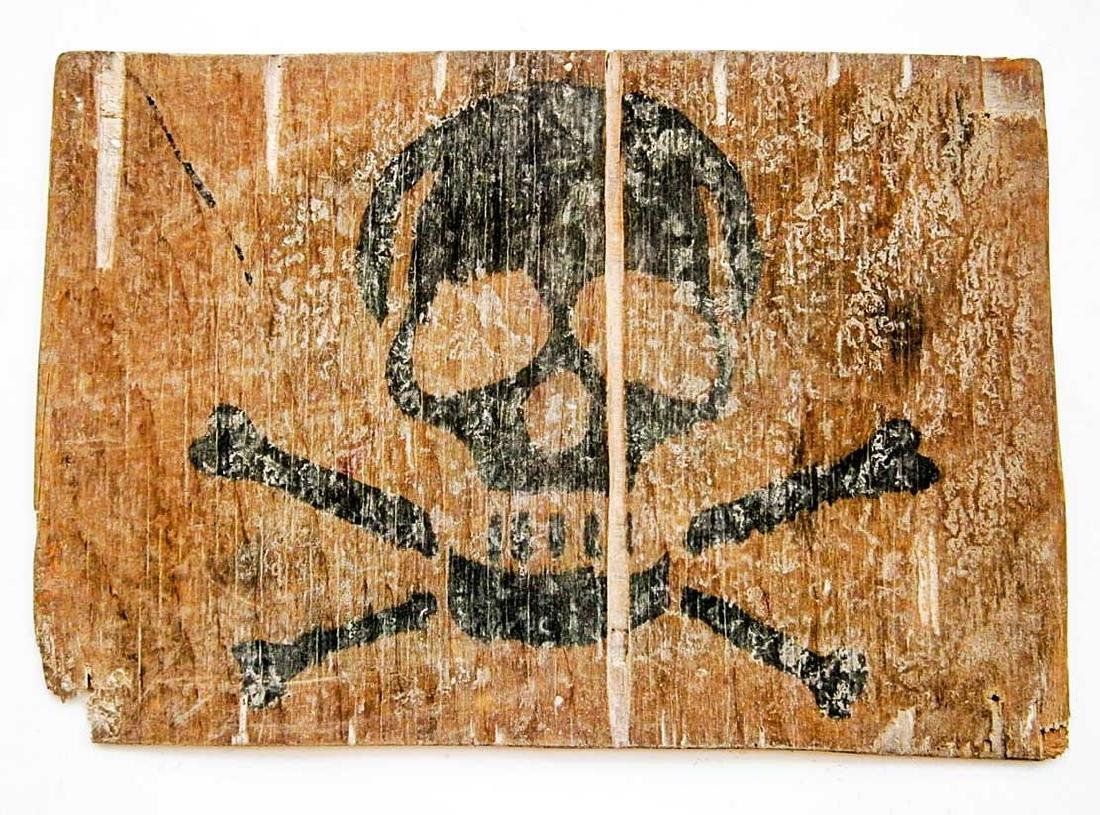 Original German WW2 Stop Sign w. Skull & Bones