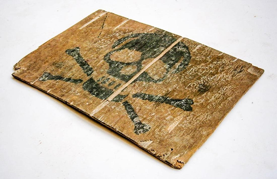 Original German WW2 Stop Sign w. Skull & Bones - 3
