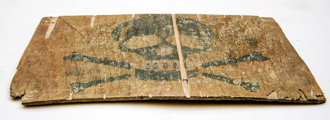 Original German WW2 Stop Sign w. Skull & Bones - 4