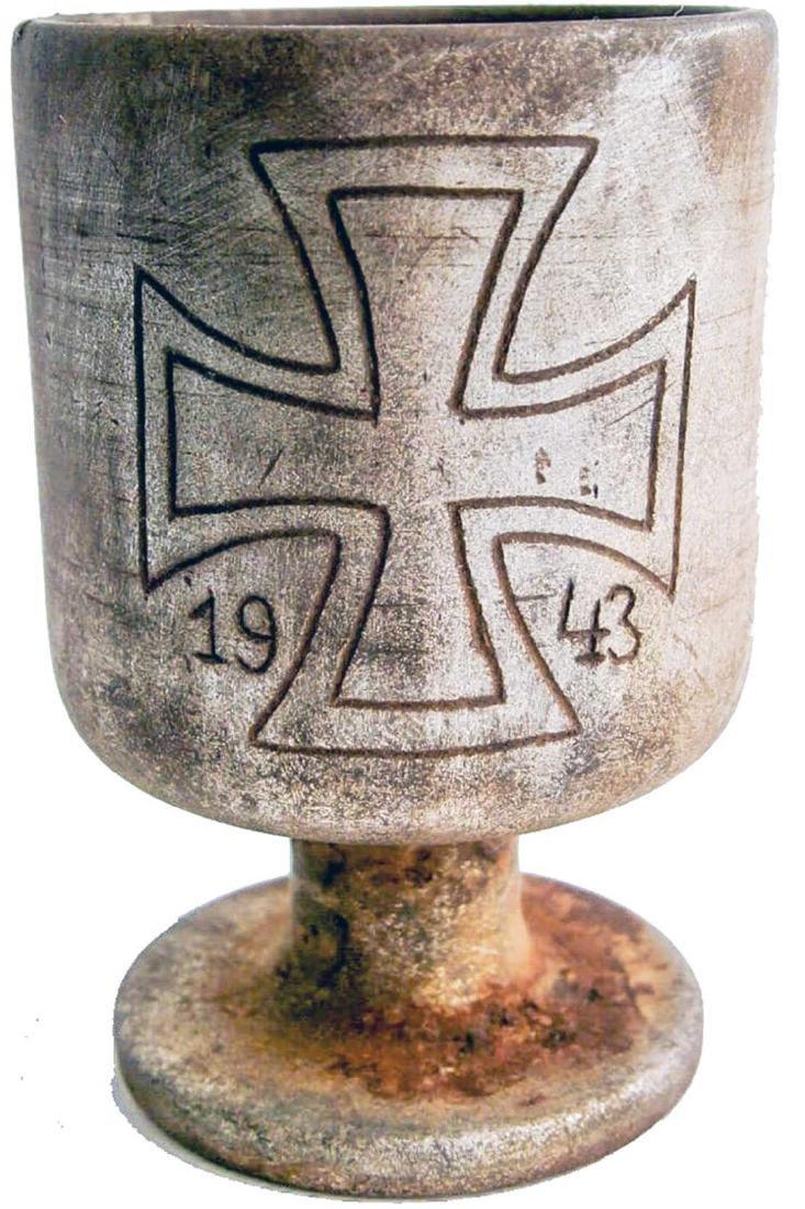 Original German WW2 Wine Cup w. Iron Cross, 1943
