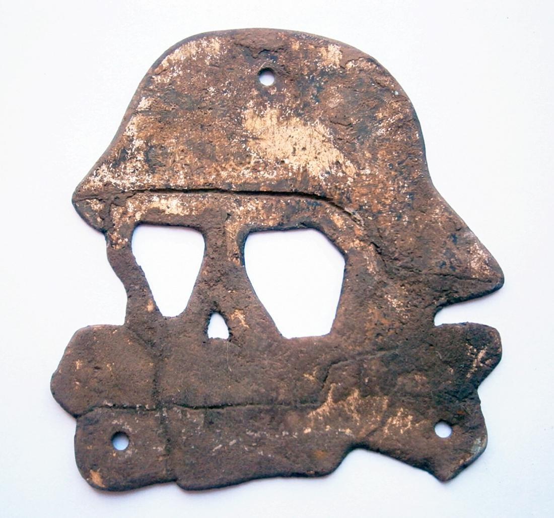 German WW2 Skull & Bones in Helmet M35, M42 Stahlhelm