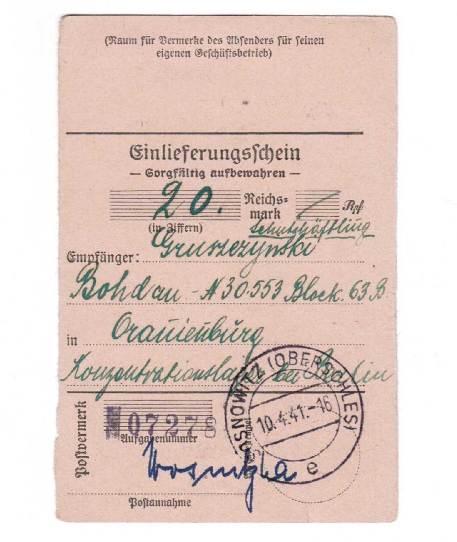 GERMAN WWII POSTAL RECEIPT fr. ORANIENBURG KL, KZ