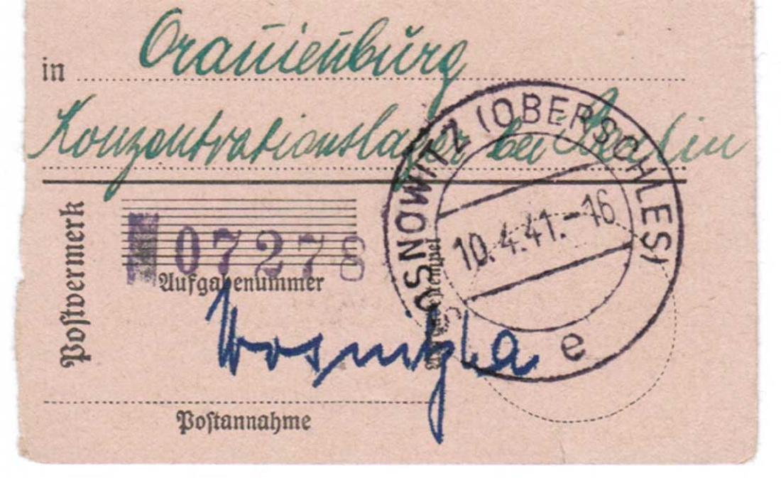 GERMAN WWII POSTAL RECEIPT fr. ORANIENBURG KL, KZ - 3