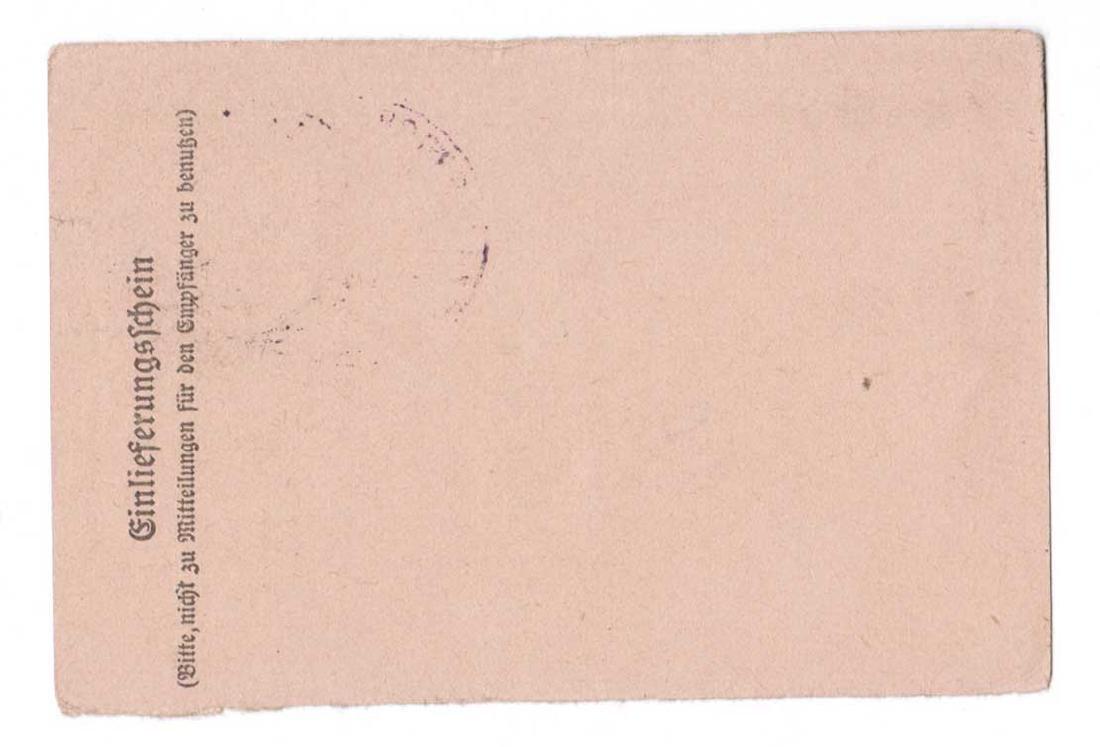 GERMAN WWII POSTAL RECEIPT fr. ORANIENBURG KL, KZ - 4
