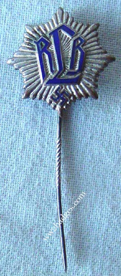 German WW2 RLB Reichsluftschutzbund Pin - 3
