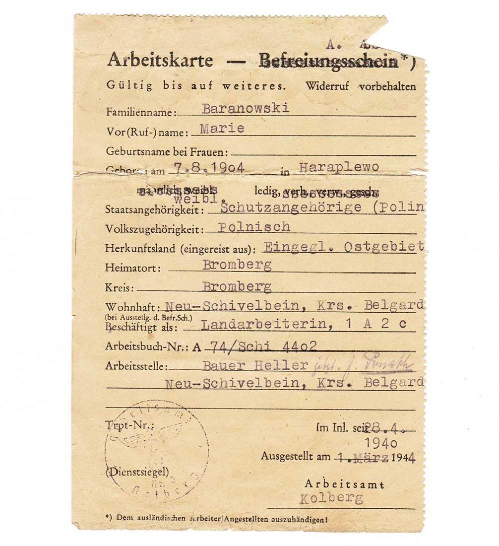 German WW2 Arbeitskarte for Polish worker, 1943 - 2
