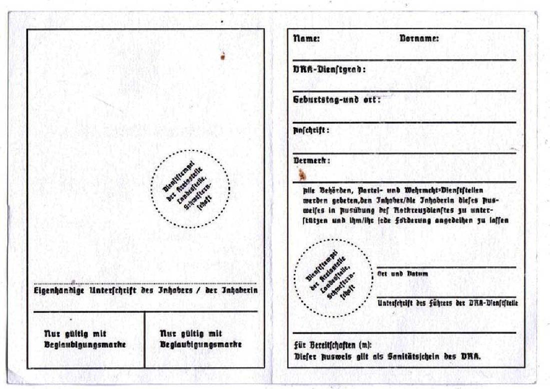 German WW2 Red Cross ID Blank, Rotes Kreus - 3