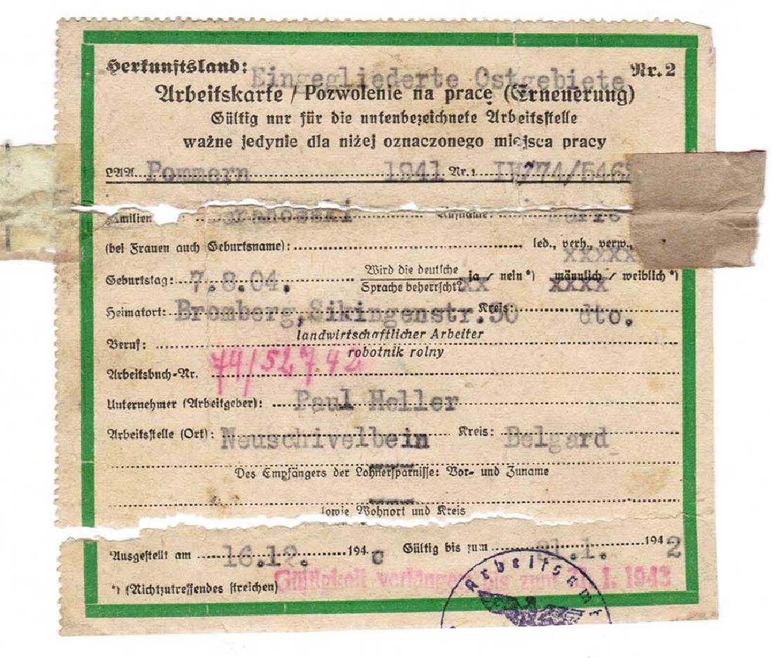 German WW2 Arbeitskarte for Foreign worker, 1942