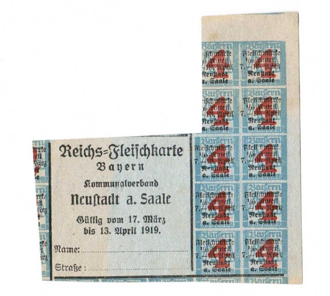 Extremely Rare German WW1 Meal Tickets from 1919