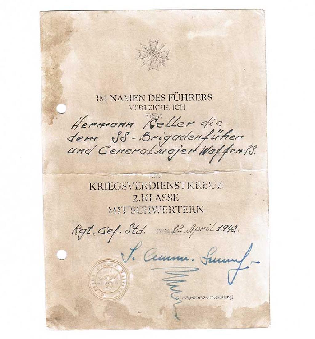 German WW2 Award Document for Kriegsverdienstkreuz, - 2