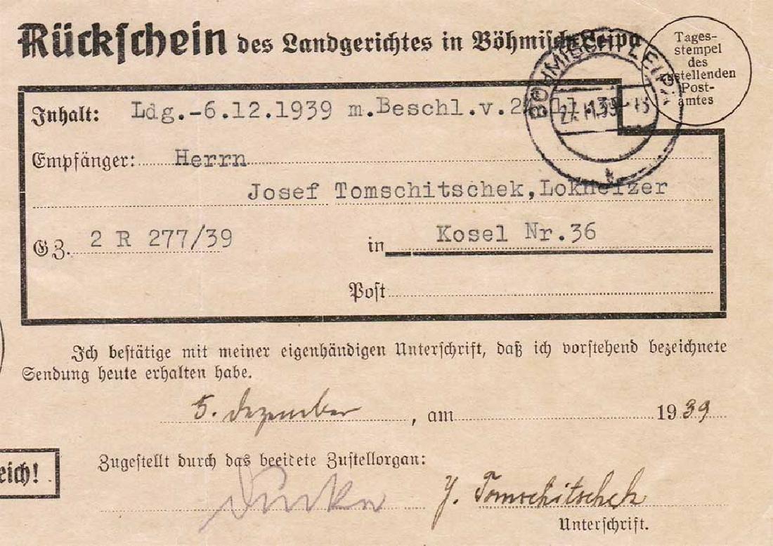 German WW2 Return Receipt, U-370 Oberleutnant Karl