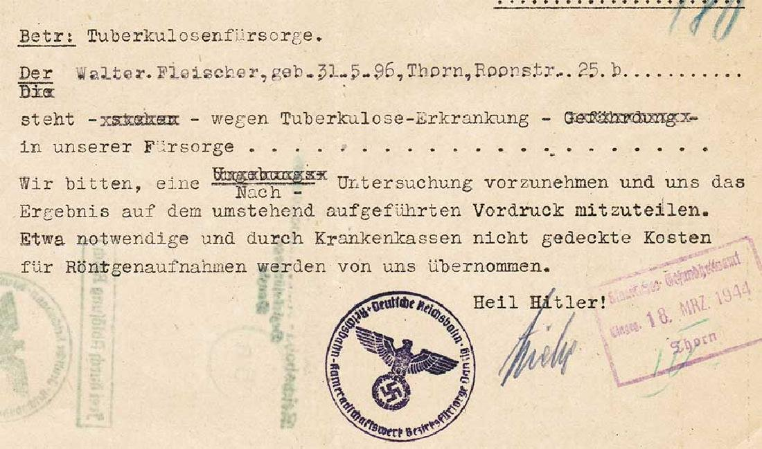 German WW2 Document, Tuberculosis Care, 1944