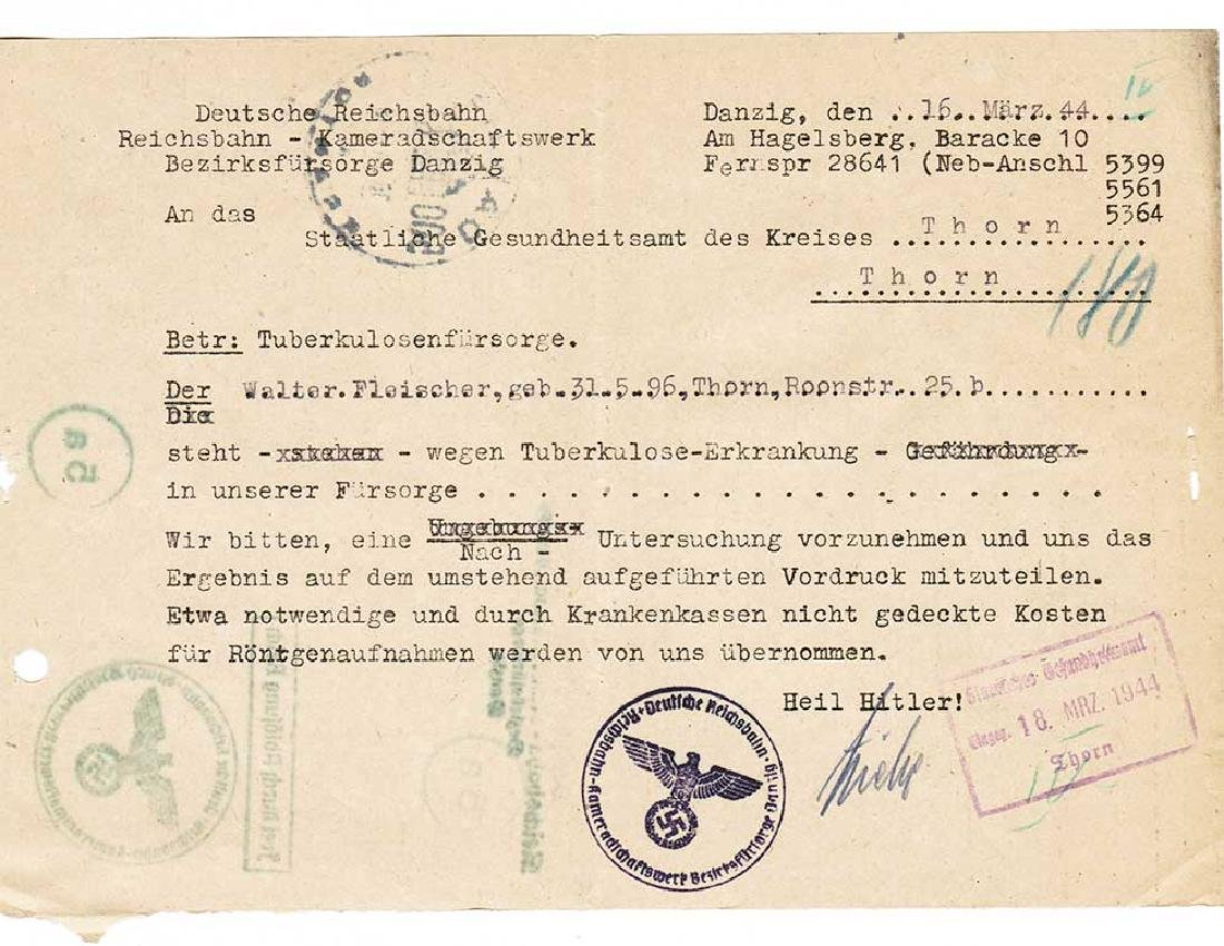 German WW2 Document, Tuberculosis Care, 1944 - 2