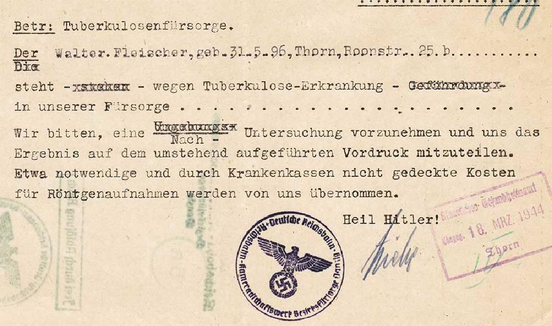 German WW2 Document, Tuberculosis Care, 1944 - 3