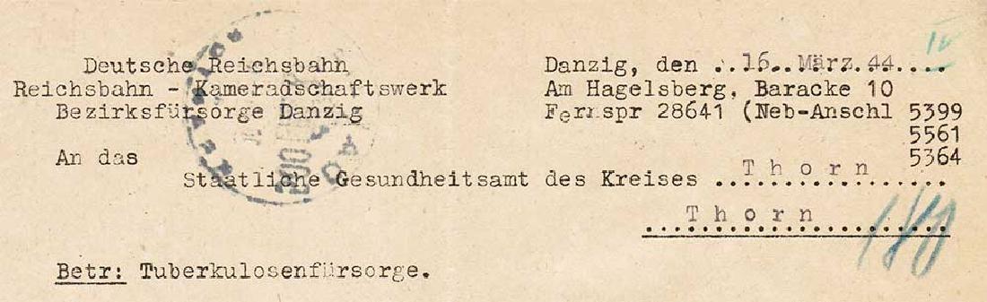 German WW2 Document, Tuberculosis Care, 1944 - 4