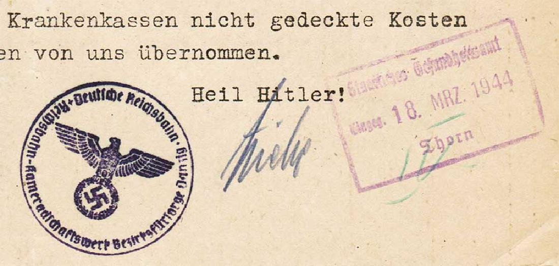 German WW2 Document, Tuberculosis Care, 1944 - 5