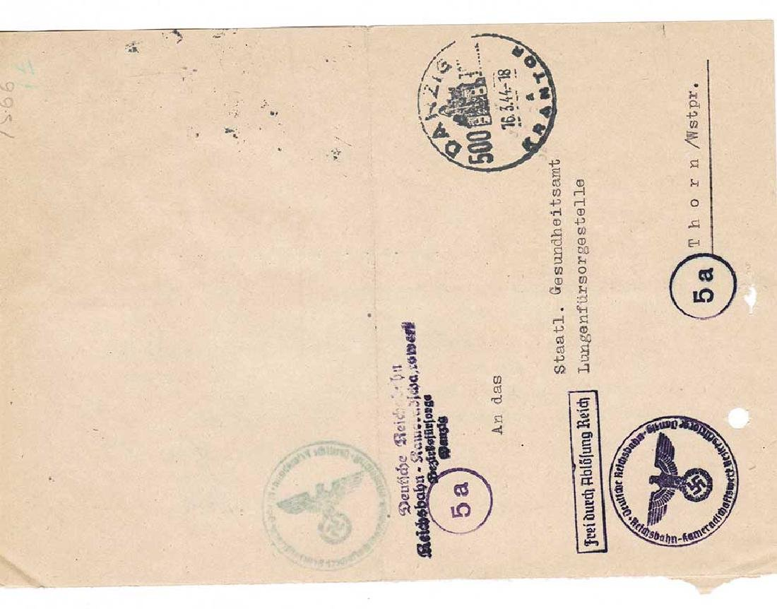 German WW2 Document, Tuberculosis Care, 1944 - 6