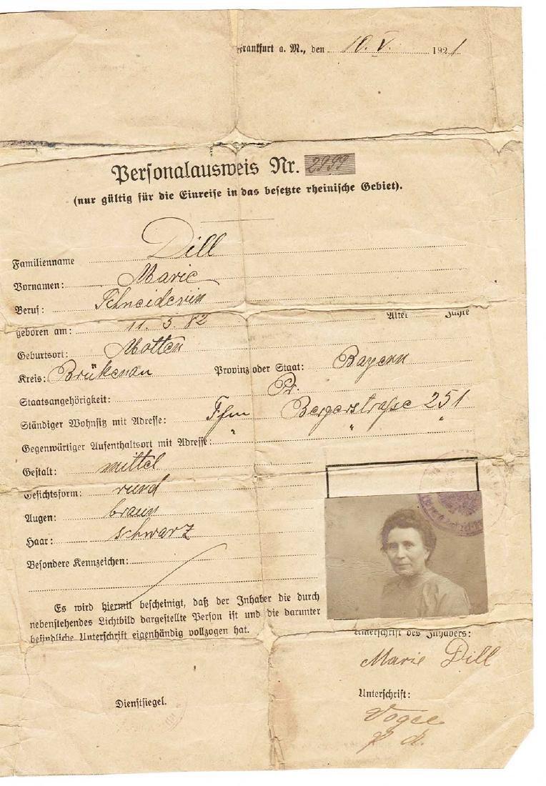 German WW1 ID Document, Personal Ausweis, 1921