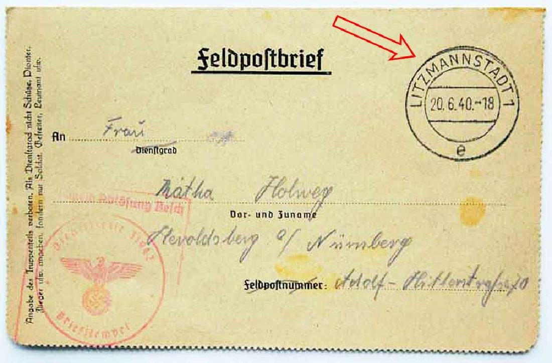 WW2 Letter, Jewish Ghetto in LITZMANNSTADT, 1940