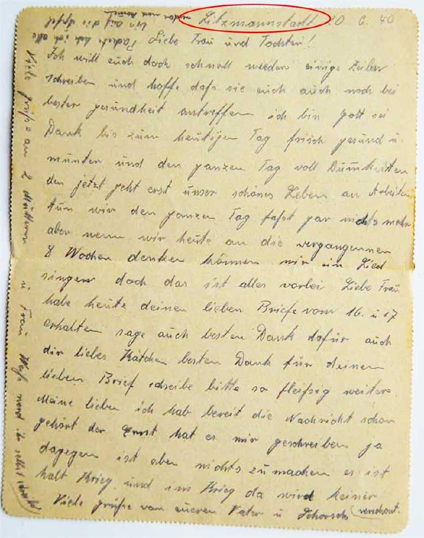 WW2 Letter, Jewish Ghetto in LITZMANNSTADT, 1940 - 4