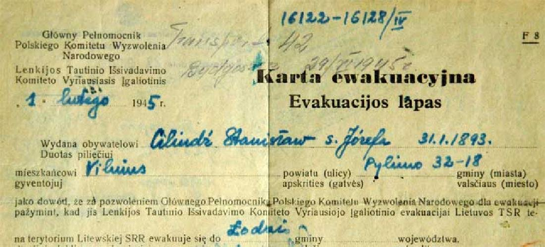 Extremely Rare Polish WW2 Document Evacuation, 1945 - 2