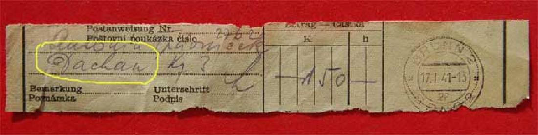 Jewish WW2 Receipt fr. DACHAU Concentration Camp, 1941