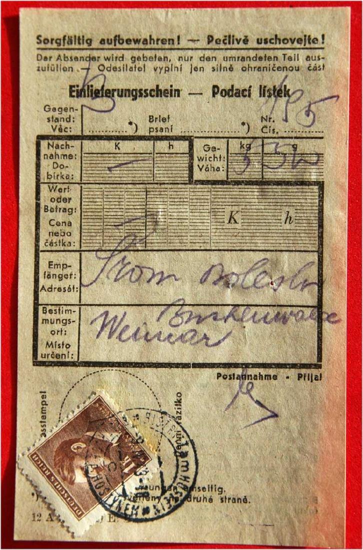 Jewish WW2 Receipt fr. Buchenwald, 1943