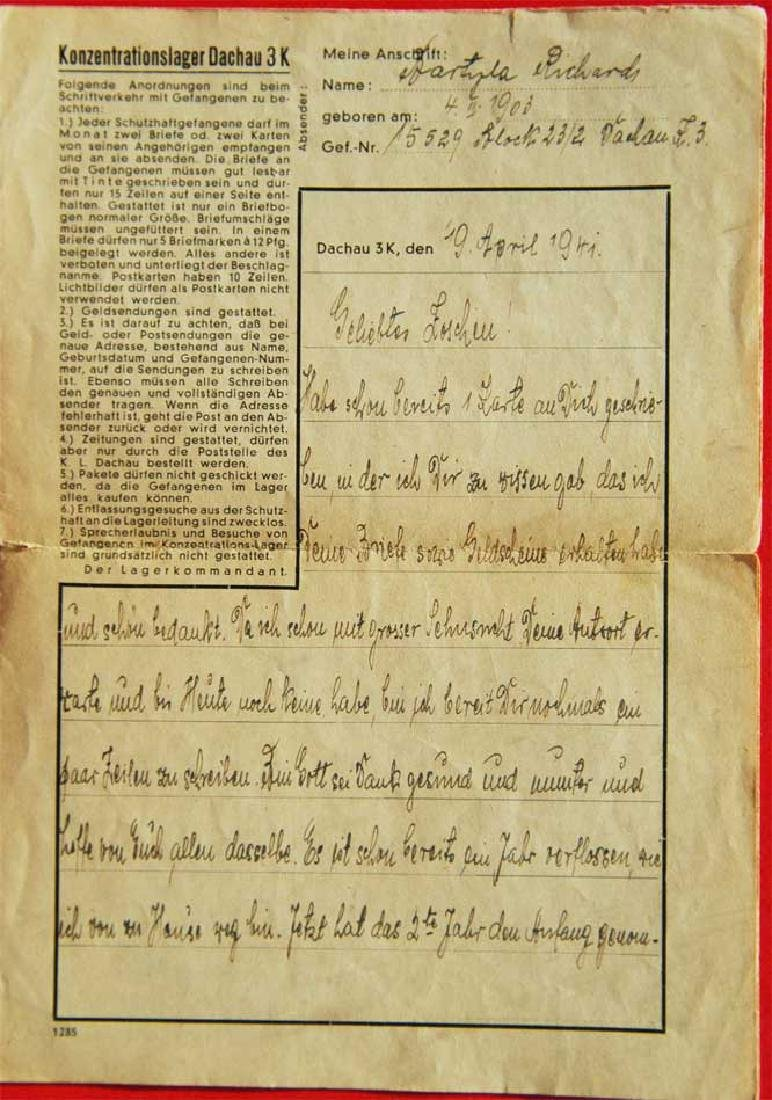 Jewish WW2 Letter fr. DACHAU CONCENTRATION CAMP