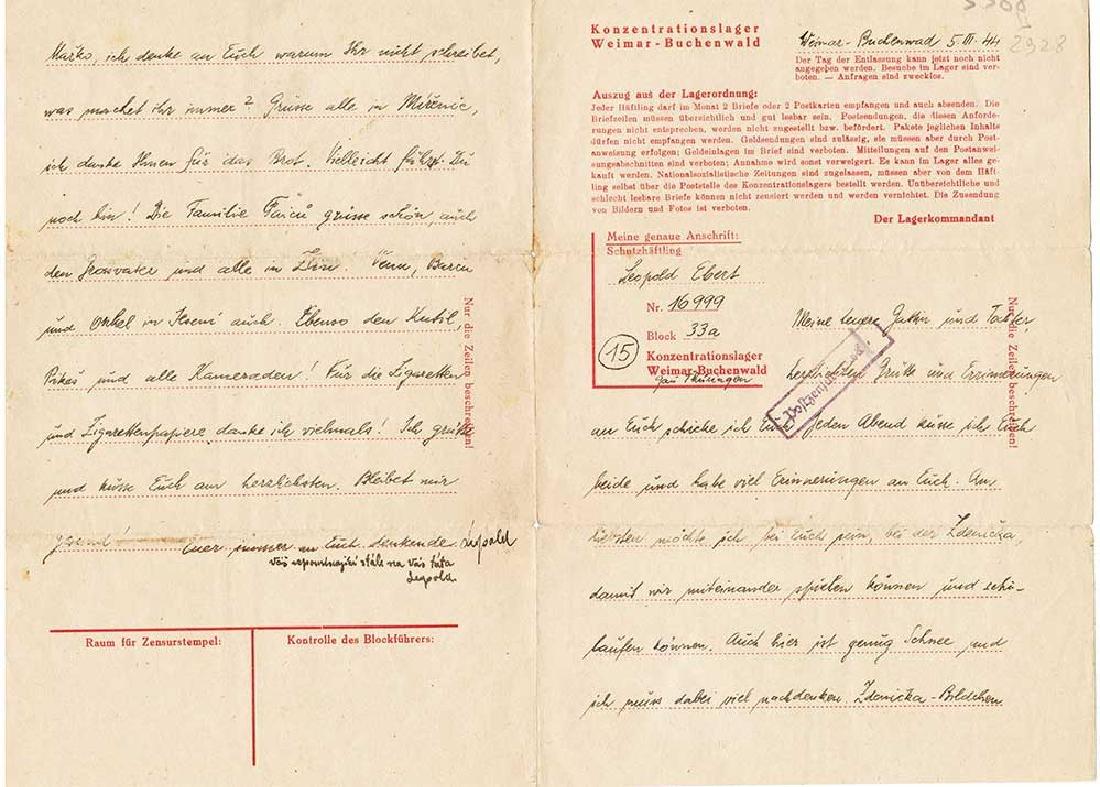 German WW2 Letter Concentration Camp Buchenwald, 1944