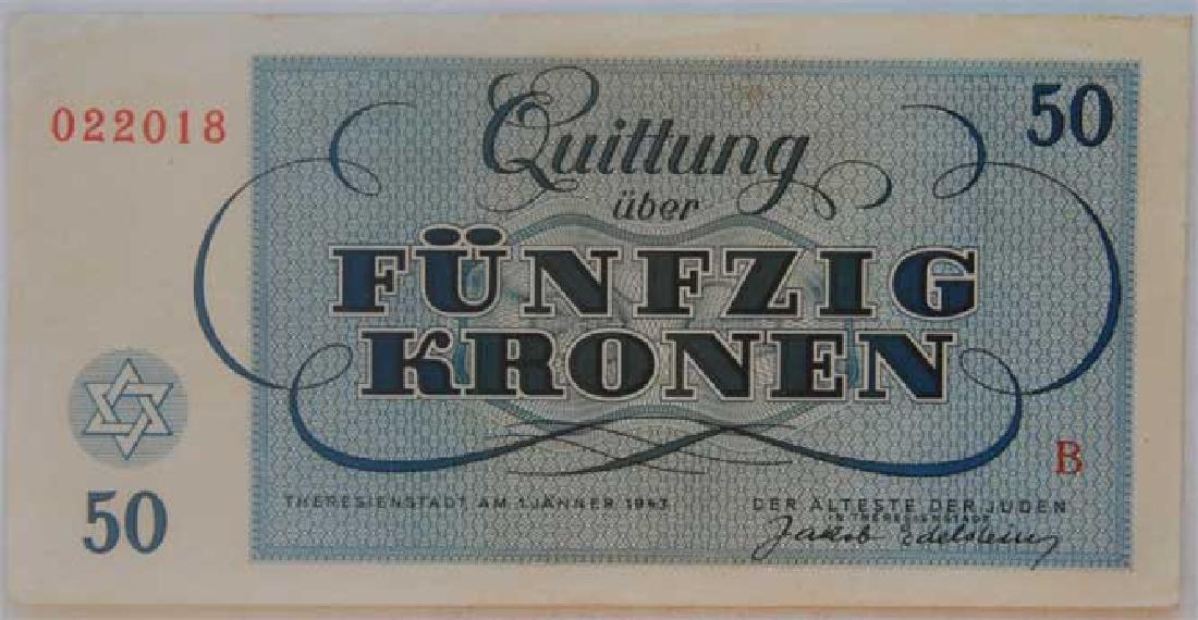 Rare WW2 50 Kronen Note fr. Theresienstadt KZ KL