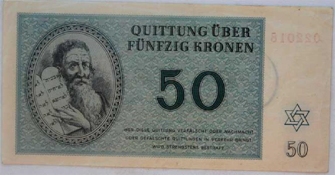 Rare WW2 50 Kronen Note fr. Theresienstadt KZ KL - 3