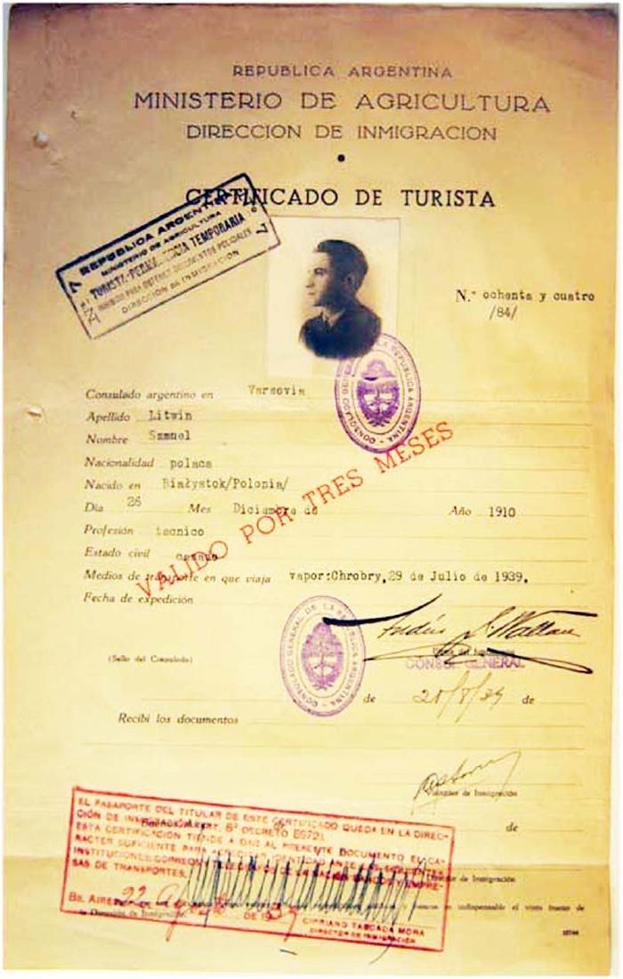 Extremely Rare WW2 Jews WW2 VISA DOCUMENT, 1939