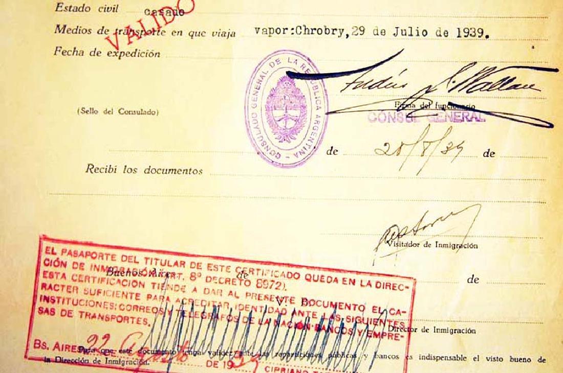 Extremely Rare WW2 Jews WW2 VISA DOCUMENT, 1939 - 3