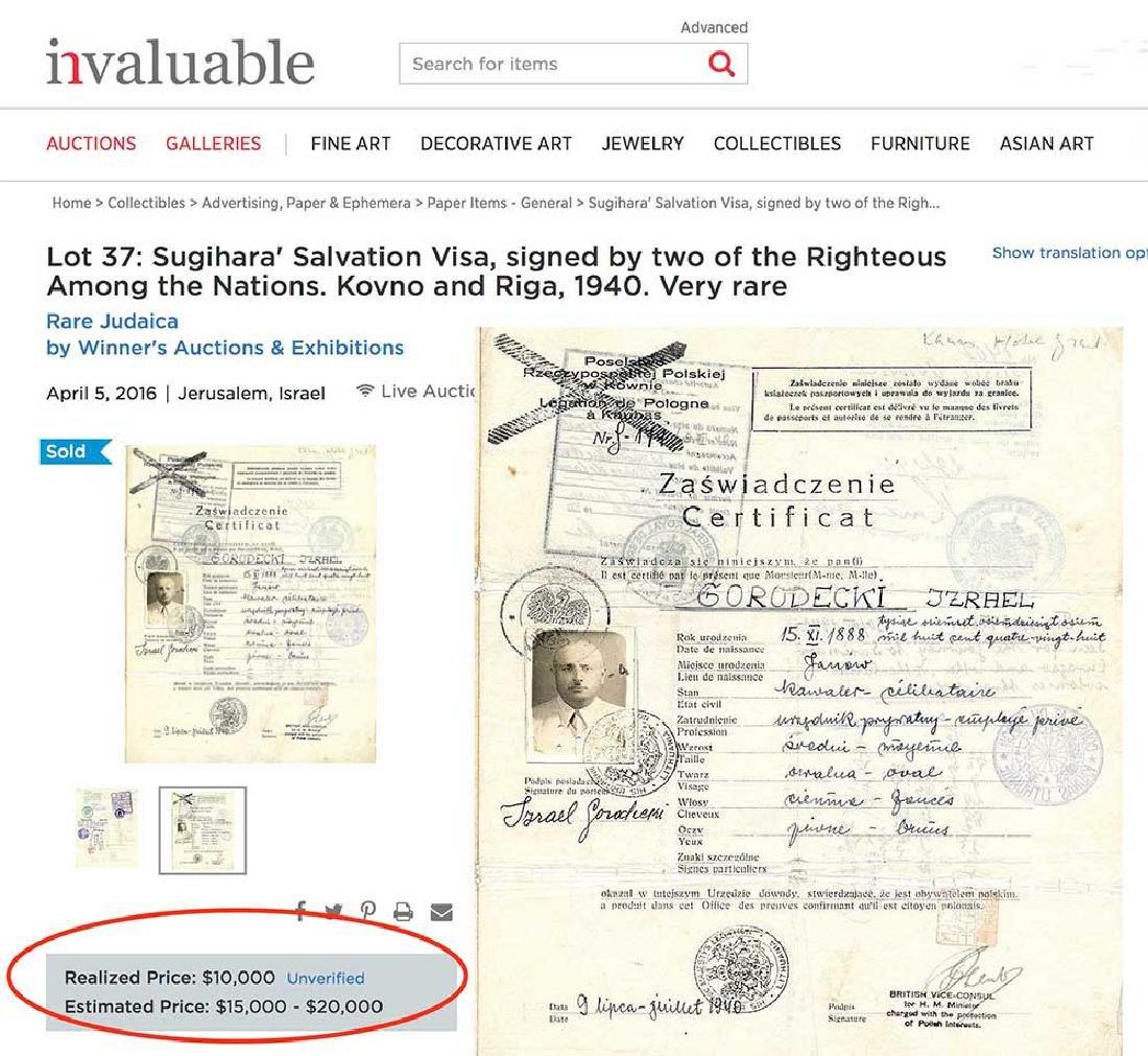Extremely Rare WW2 Jews WW2 VISA DOCUMENT, 1939 - 6