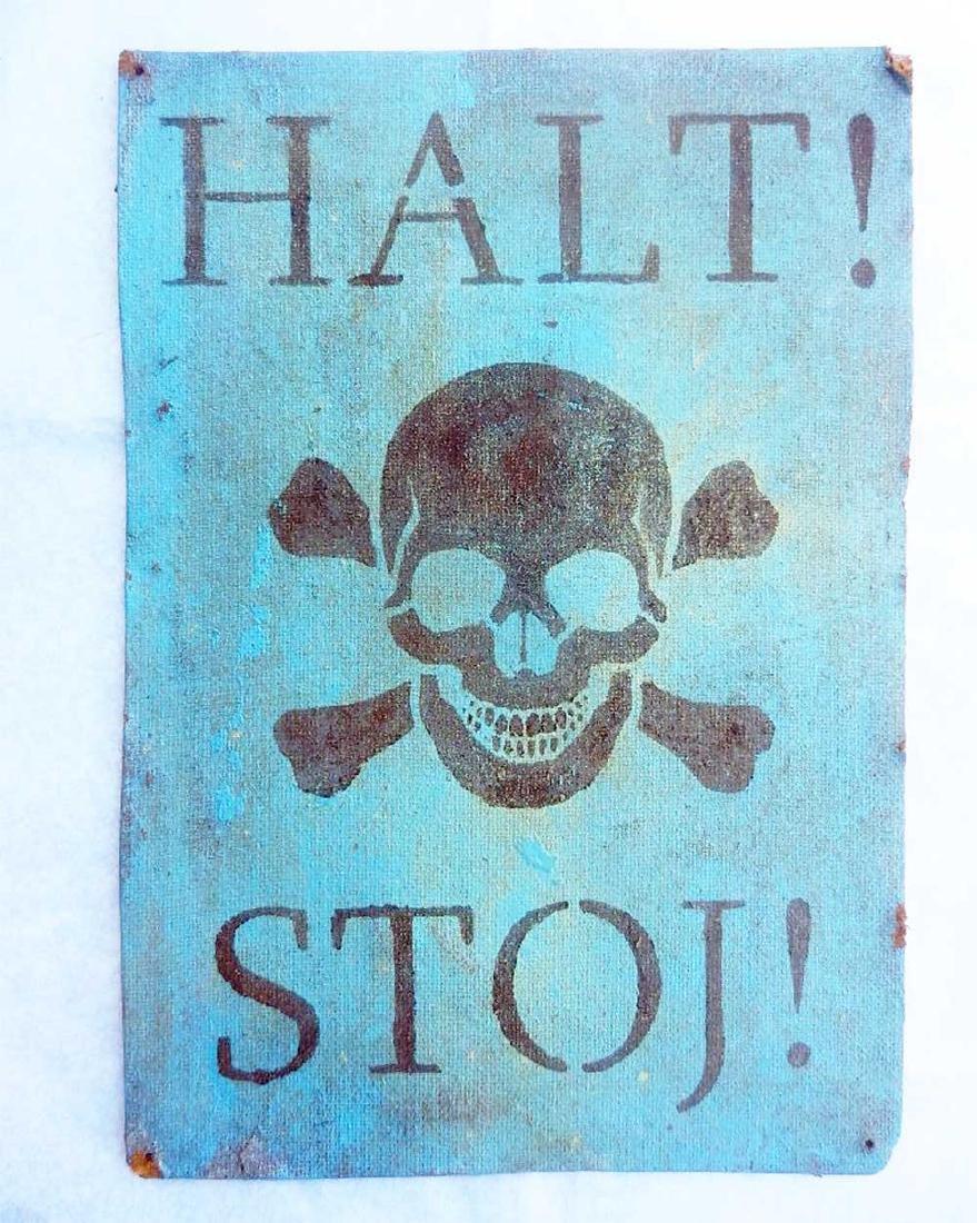 Extremely Rare Original German WW2 Sign Stoj-HALT