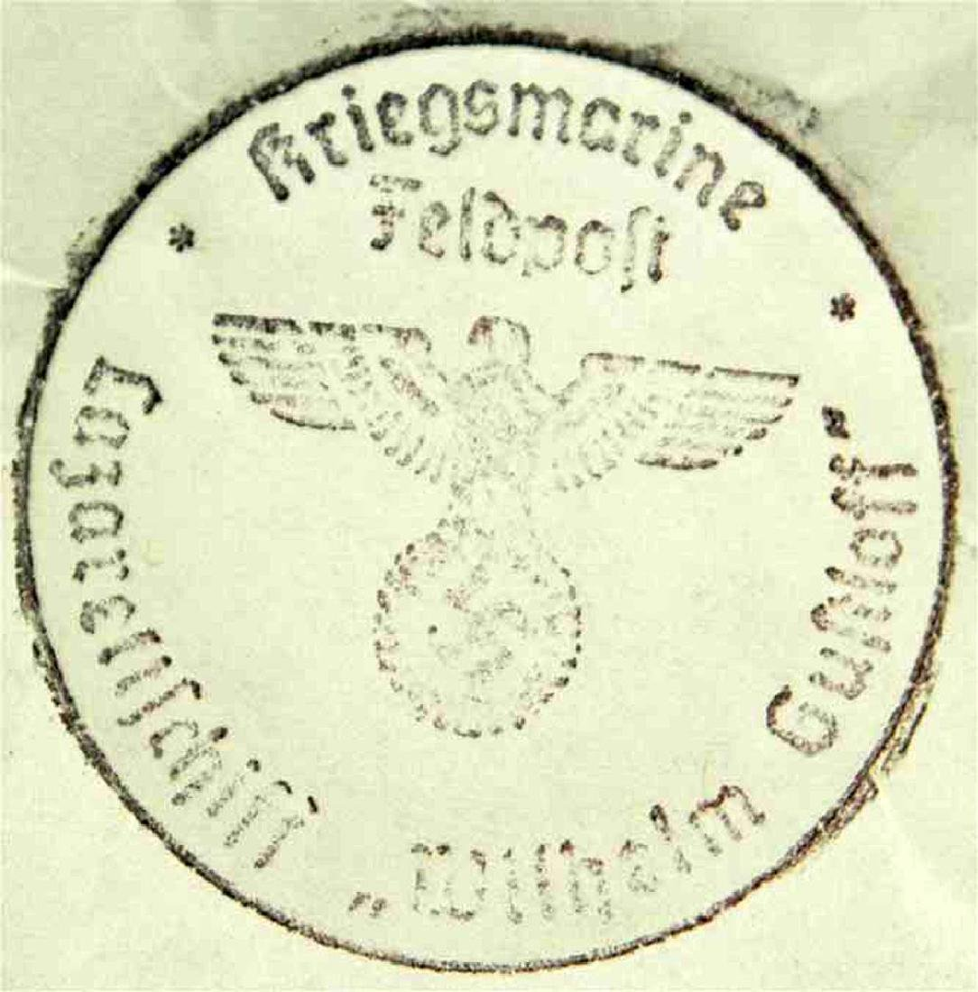 German WW2 Ink KRIEGSMARINE STAMP, LasarettShiff