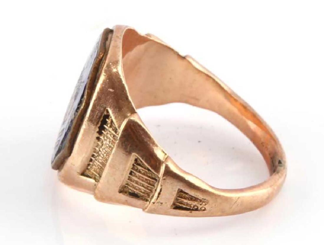 GOLD SIGNET RING, USA AEF DOUGHBOY ENAMELLED - 3